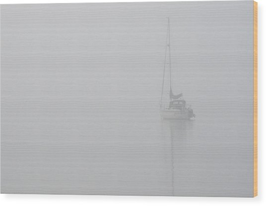 Sailboat In Fog Wood Print