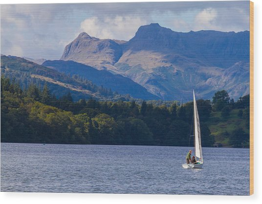 Sailboat In Lake Windermere Wood Print