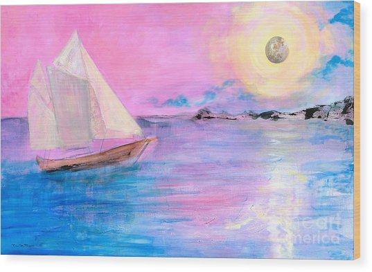 Sailboat In Pink Moonlight  Wood Print