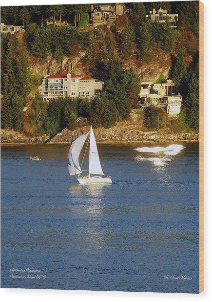Sailboat In Vancouver Wood Print
