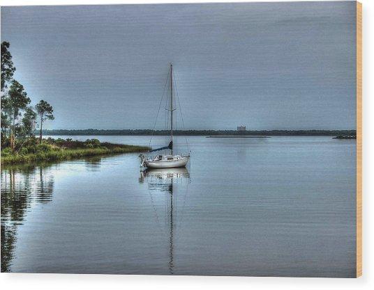Sailboat Off Plash Wood Print