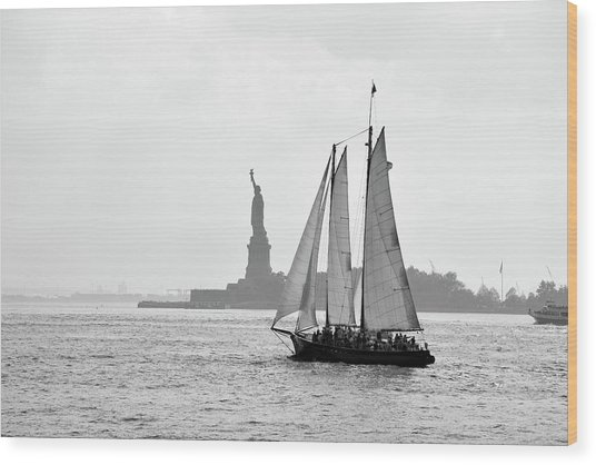 Sailing On The Hudson  Wood Print
