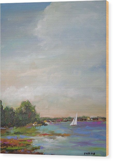 Sailboat Painting Meet You There Wood Print by Karen Fields