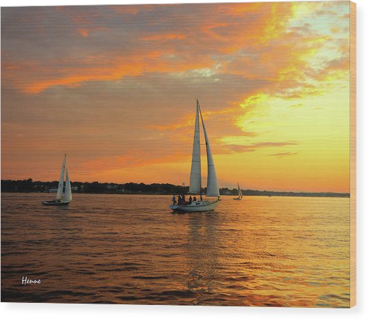 Sailboat Parade Wood Print