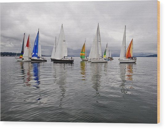 Sailboat Race Seattle Wood Print by Tom Dowd