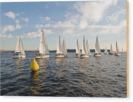Sailboat Racers Wood Print by Tom Dowd