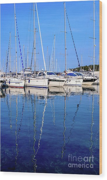 Sailboat Reflections - Rovinj, Croatia  Wood Print