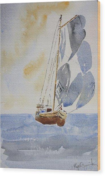 Sailboat Wood Print by Roger Cummiskey