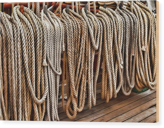 Sailboat Ropes And Deck Wood Print