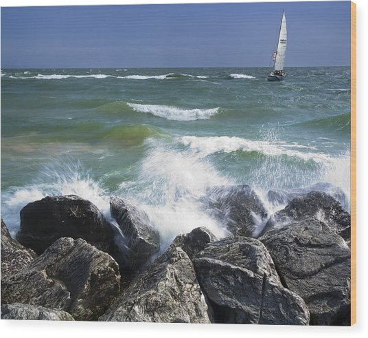Sailboat Sailing Off The Shore At Ottawa Beach State Park Wood Print