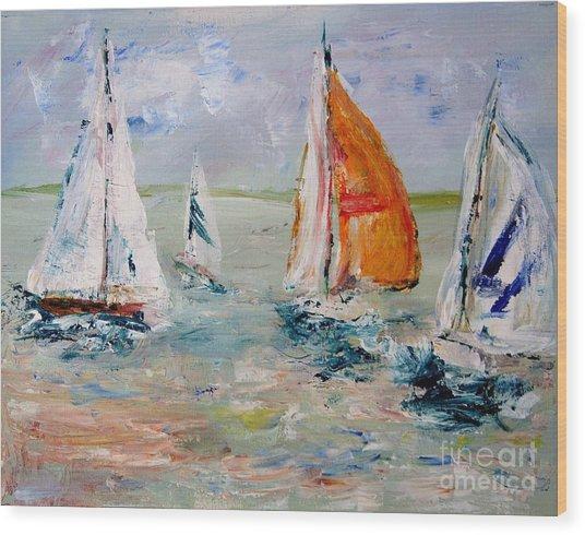Sailboat Studies 3 Wood Print