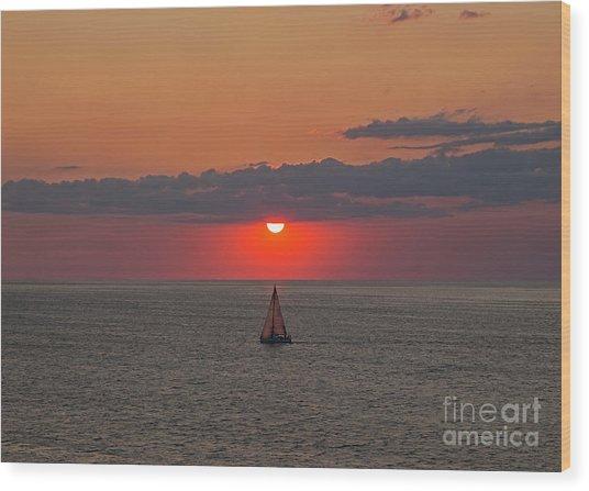 Sailboat Sunset Wood Print