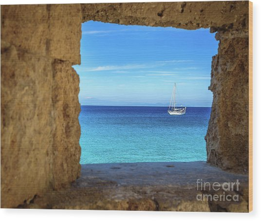 Sailboat Through The Old Stone Walls Of Rhodes, Greece Wood Print