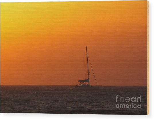 Wood Print featuring the photograph Sailboat Waiting by Jeremy Hayden