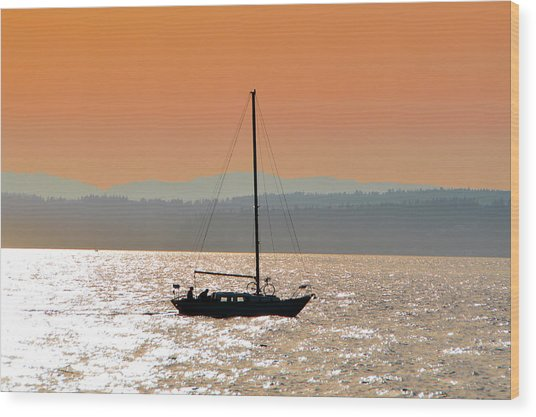 Sailboat With Bike Wood Print