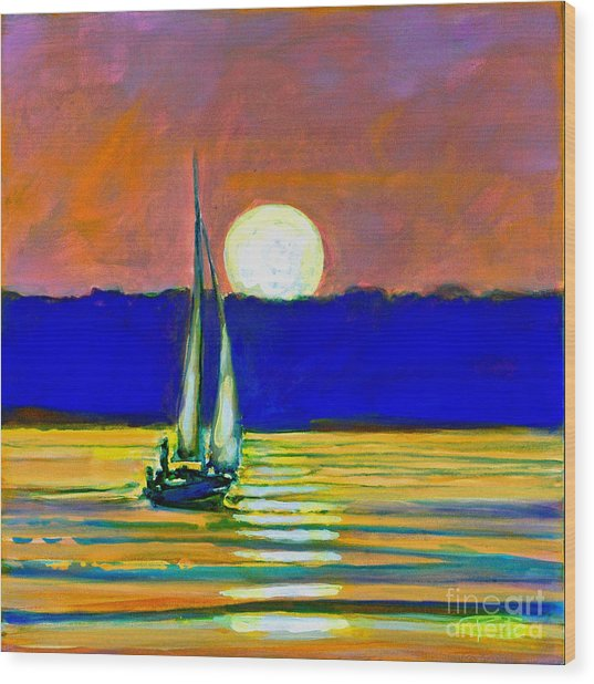 Sailboat With Moonlight Wood Print by Kip Decker