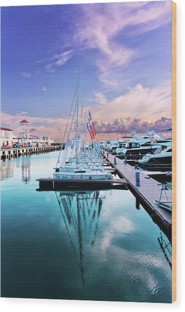sailboats and yachts in the roads of the main sea channel of the Sochi seaport Wood Print