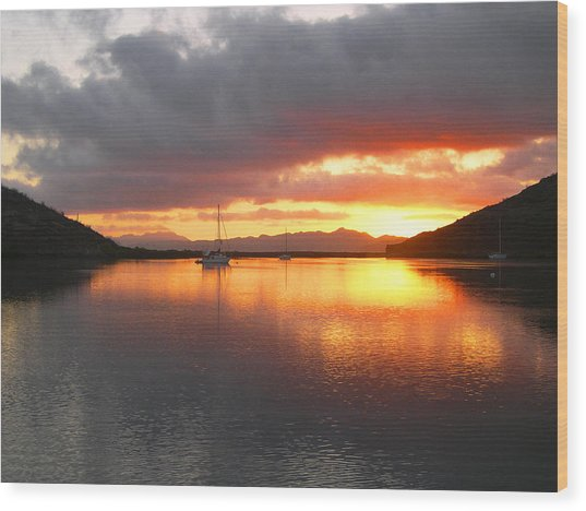 Sailboats At Sunrise In Puerto Escondido Wood Print