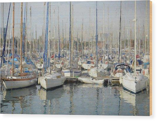Sailboats At The Dock - Painting Wood Print