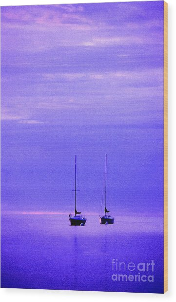 Sailboats In Blue Wood Print
