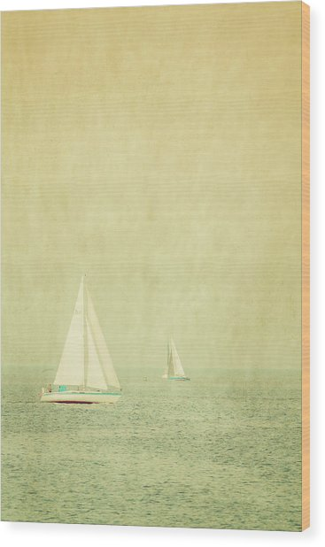 Sailboats In Pastel Wood Print by Erin Cadigan