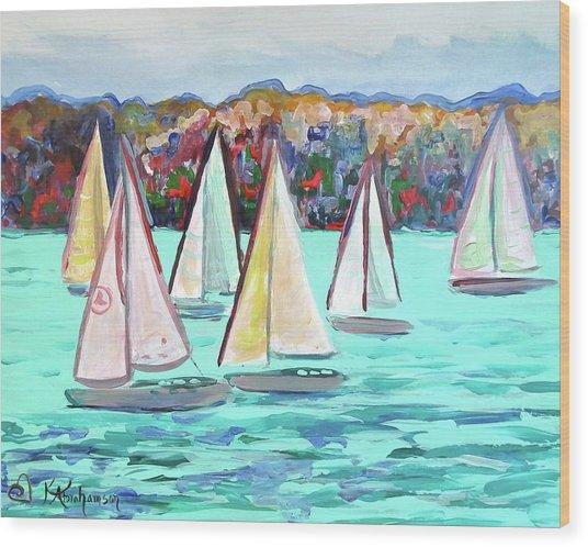Sailboats In Spain I Wood Print
