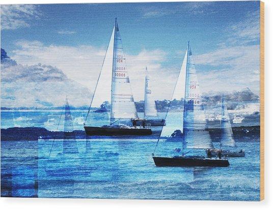 Sailboats Wood Print by Matthew Robbins
