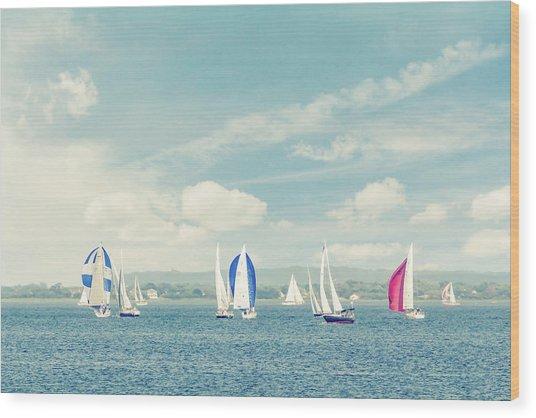 Sailboats On The Raritan Bay Wood Print by Erin Cadigan