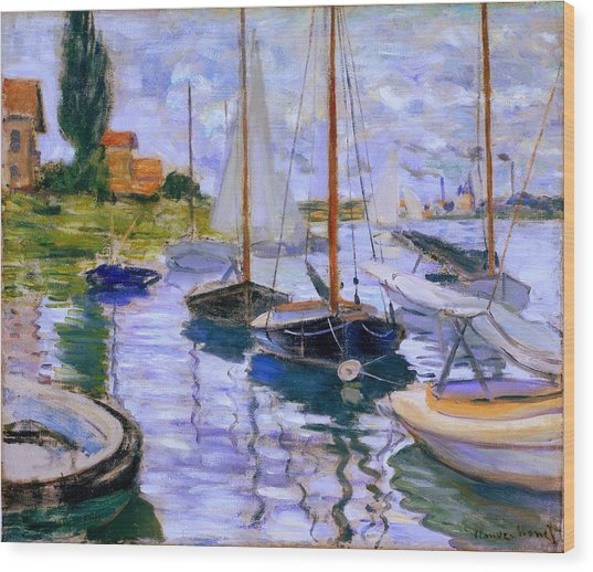 Sailboats On The Seine At Petit Gennevilliers Claude Monet 1874 Wood Print