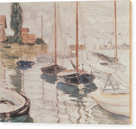 Sailboats On The Seine Wood Print