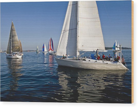 Sailboats Wood Print by Tom Dowd