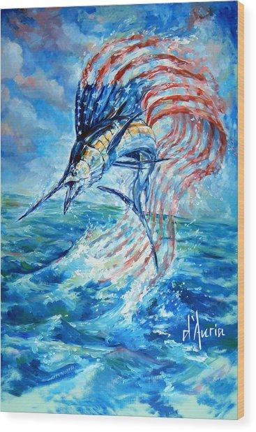 Sailfish Americana Wood Print
