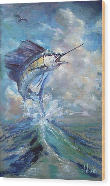 Sailfish And Frigate Wood Print