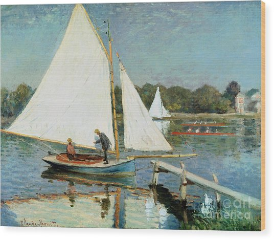 Sailing At Argenteuil Wood Print