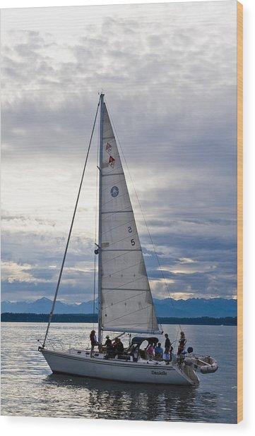 Sailing At Dusk Wood Print by Tom Dowd