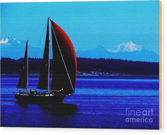 Sailing At Port Townsend Washington State Wood Print