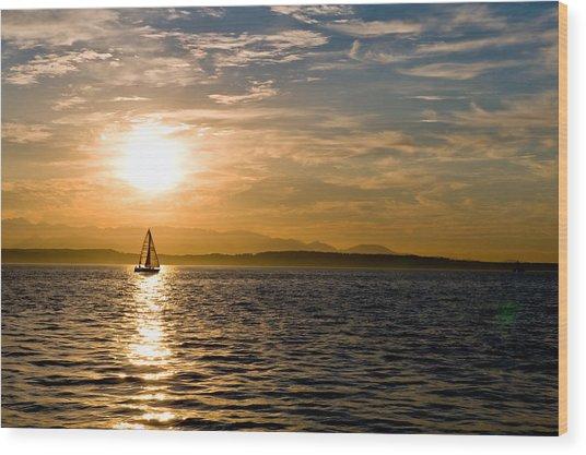 Sailing At Sunset Wood Print by Tom Dowd