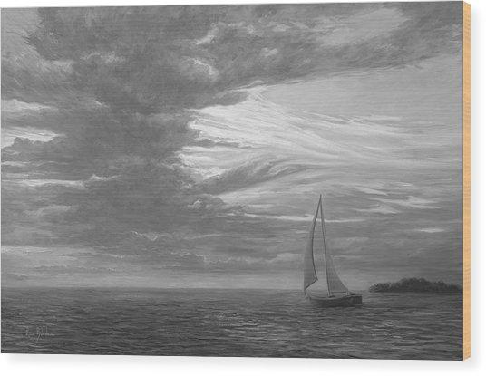 Sailing Away - Black And White Wood Print