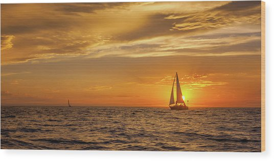 Sailing Away Two Wood Print by Steve Spiliotopoulos