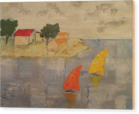 Sailing-boats Wood Print by Anthony Meton