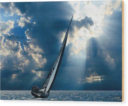 Sailing Boats At Sea , Photography , Wood Print