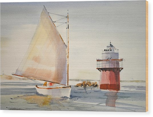 Sailing By Buglight  Wood Print