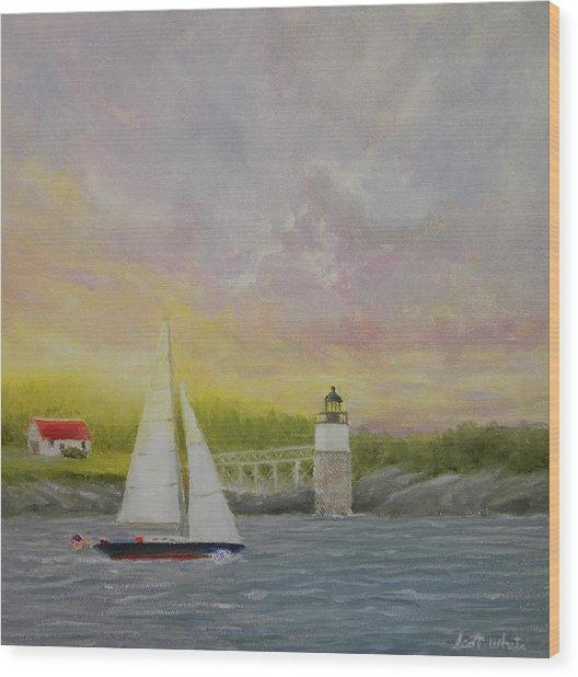 Sailing By Ram Island Wood Print