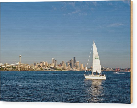 Sailing By Seattle Wood Print by Tom Dowd