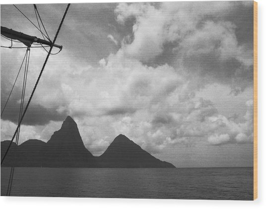Sailing By The Pitons Wood Print