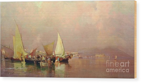 Sailing Fishermen Boats In Naples Wood Print
