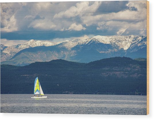 Sailing Flathead Lake Wood Print