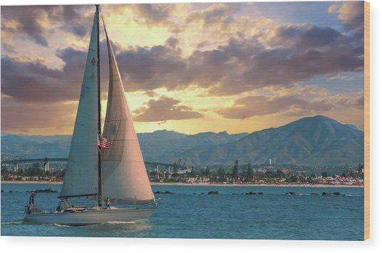 Sailing In San Diego Wood Print