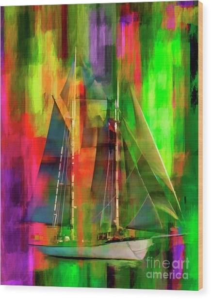 Sailing In The Abstract 2016 Wood Print