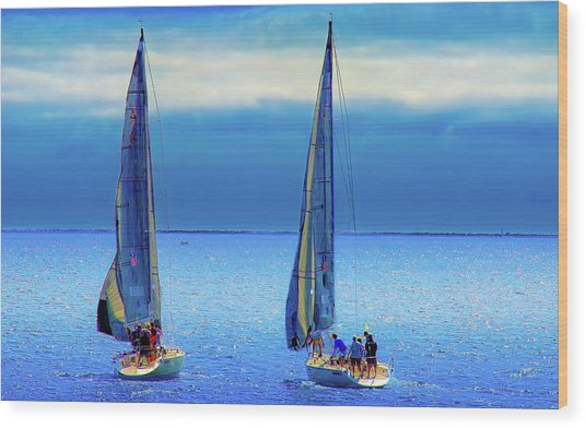 Sailing In The Blue Wood Print